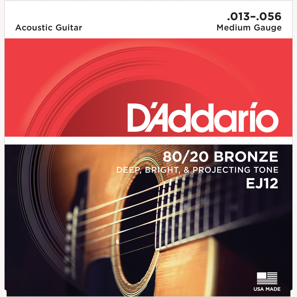 D'Addario EJ12 80/20 Bronze Round Wound Acoustic Guitar Strings, Medium, 13-56 - Octave Music Store - 1
