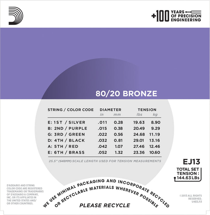 D'Addario EJ13 80/20 Bronze Round Wound Acoustic Guitar Strings, Custom Light, 11-52 - Octave Music Store - 3