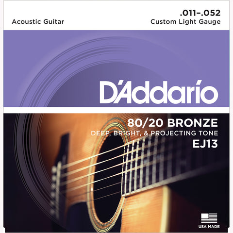 D'Addario EJ13 80/20 Bronze Round Wound Acoustic Guitar Strings, Custom Light, 11-52 - Octave Music Store - 1