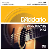 D'Addario EJ14 80/20 Bronze Round Wound Acoustic Guitar Strings, Bluegrass: Light Top/Medium Bottom, 12-56 - Octave Music Store - 1