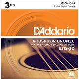 D'Addario EJ15 Phosphor Bronze Round Wound Acoustic Guitar Strings, Extra Light, 10-47 - Octave Music Store - 5