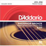 D'Addario EJ17 Phosphor Bronze Round Wound Acoustic Guitar Strings, Medium, 13-56 - Octave Music Store - 7