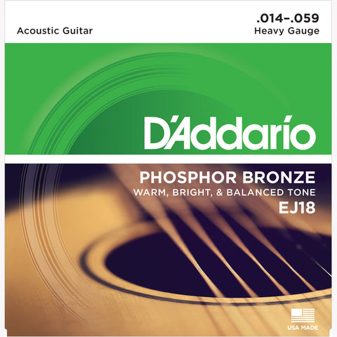 D'Addario EJ18 Phosphor Bronze Round Wound Acoustic Guitar Strings, Heavy, 14-59 - Octave Music Store - 1