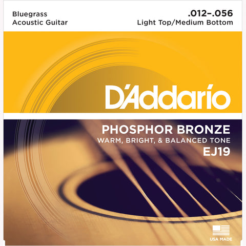 D'Addario EJ19 Phosphor Bronze Round Wound Acoustic Guitar Strings, Bluegrass: Light Top/Medium Bottom, 12-56 - Octave Music Store - 1