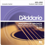 D'Addario EJ26 Phosphor Bronze Round Wound Acoustic Guitar Strings, Custom Light, 11-52 - Octave Music Store - 1