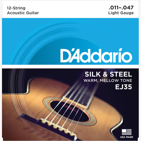 D'Addario EJ35 Silk & Steel Folk Guitar Strings, 12-String/Silverplated Wound, 11-47 - Octave Music Store - 1
