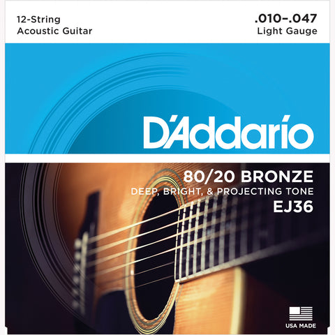 D'Addario EJ36 80/20 Bronze Round Wound Acoustic Guitar Strings, 12-String/Light, 10-47 - Octave Music Store - 1