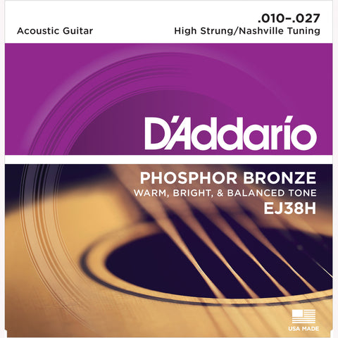 D'Addario EJ38H Phosphor Bronze Round Wound Acoustic Guitar Strings, High-Strung/Nashville Tuning, 10-27 - Octave Music Store - 1