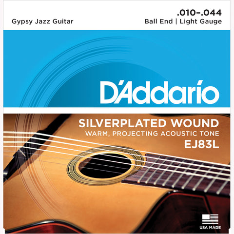 D'Addario EJ83L Gypsy Jazz Acoustic Guitar Strings, Ball End Light, 10-44 - Octave Music Store - 1