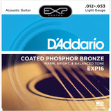 D'Addario EXP16 Coated Phosphor Bronze Acoustic Guitar Strings, Light, 12-53 - Octave Music Store - 1