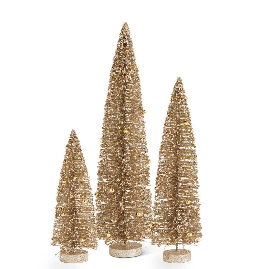 Gold Glittered Bottle Brush Trees w/Ornaments