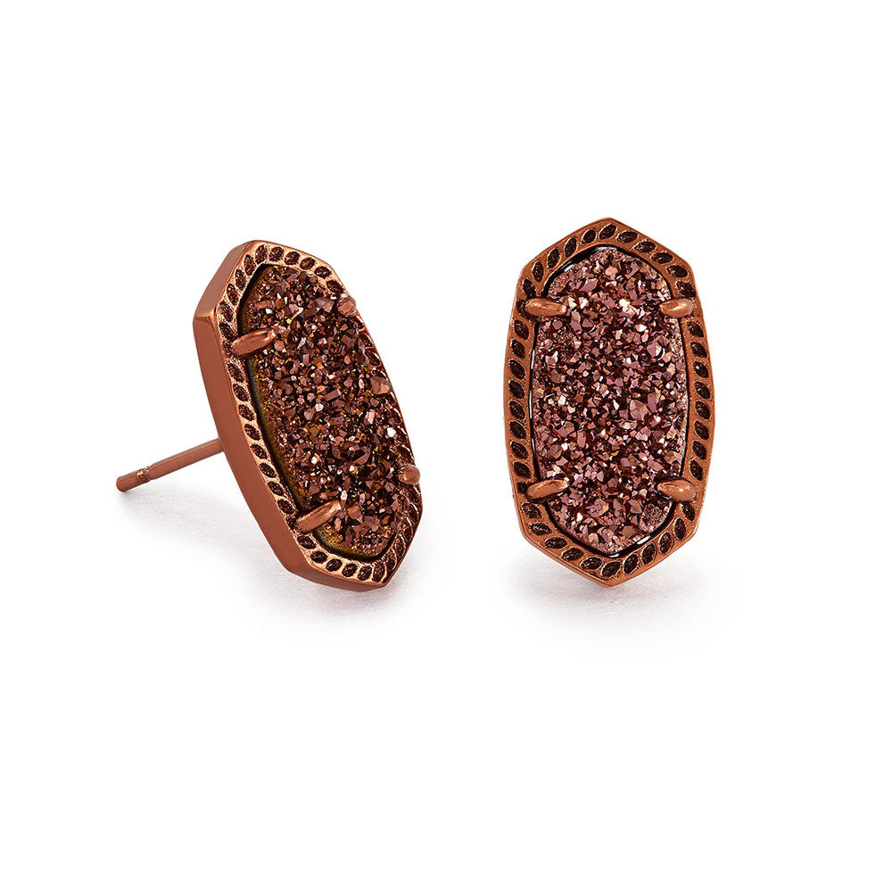 Ellie Chocolate Stud Earrings - Chocolate Drusy