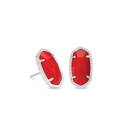 Ellie Silver Stud Earrings - Bright Red Opaque Glass