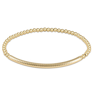 Bliss Bar Textured Bracelet - 3mm Bead Gold