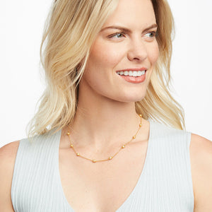 Penelope Delicate Station Necklace - Pearl