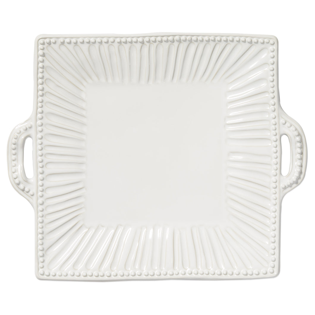 Incanto Stone White Stripe Square Handled Platter