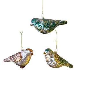 Glass Bird Ornament - 3 Colors