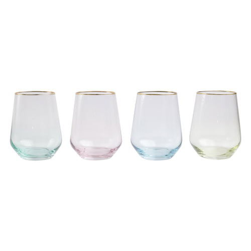 Rainbow Assorted Stemless Wine Glasses SET of 4