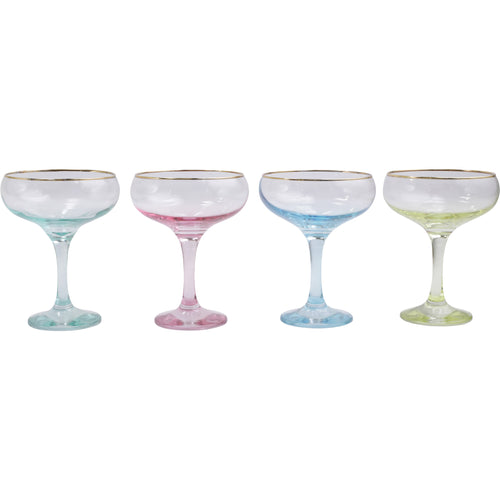 Rainbow Assorted Coupe Champagne Glasses SET of 4