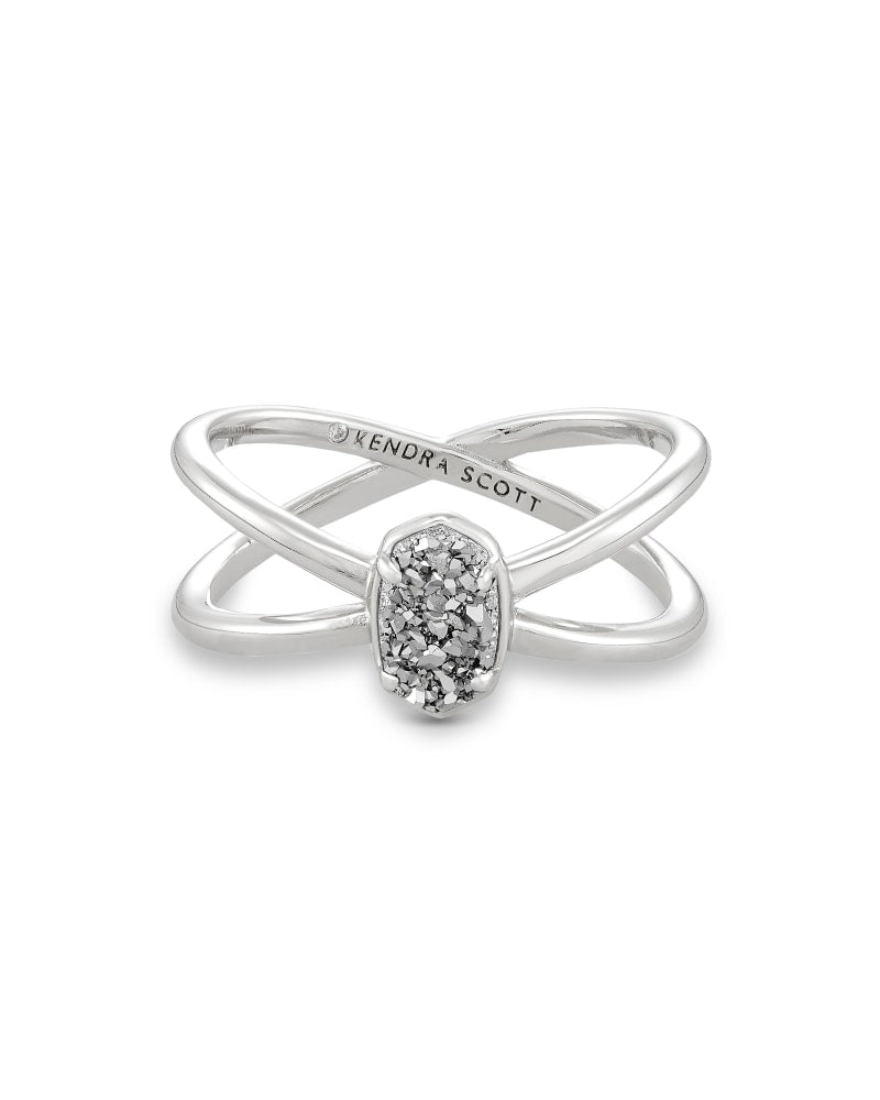 Emilie Silver Double Band Ring - Platinum Drusy