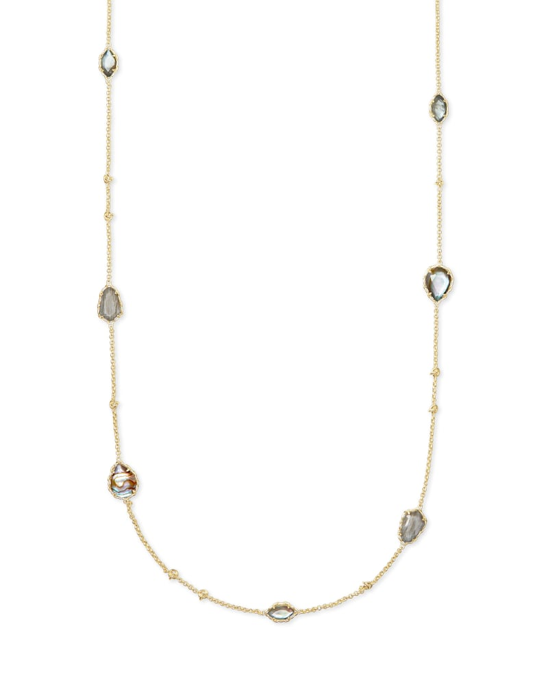 Gwenyth Gold Long Strand Necklace - Gray Mix