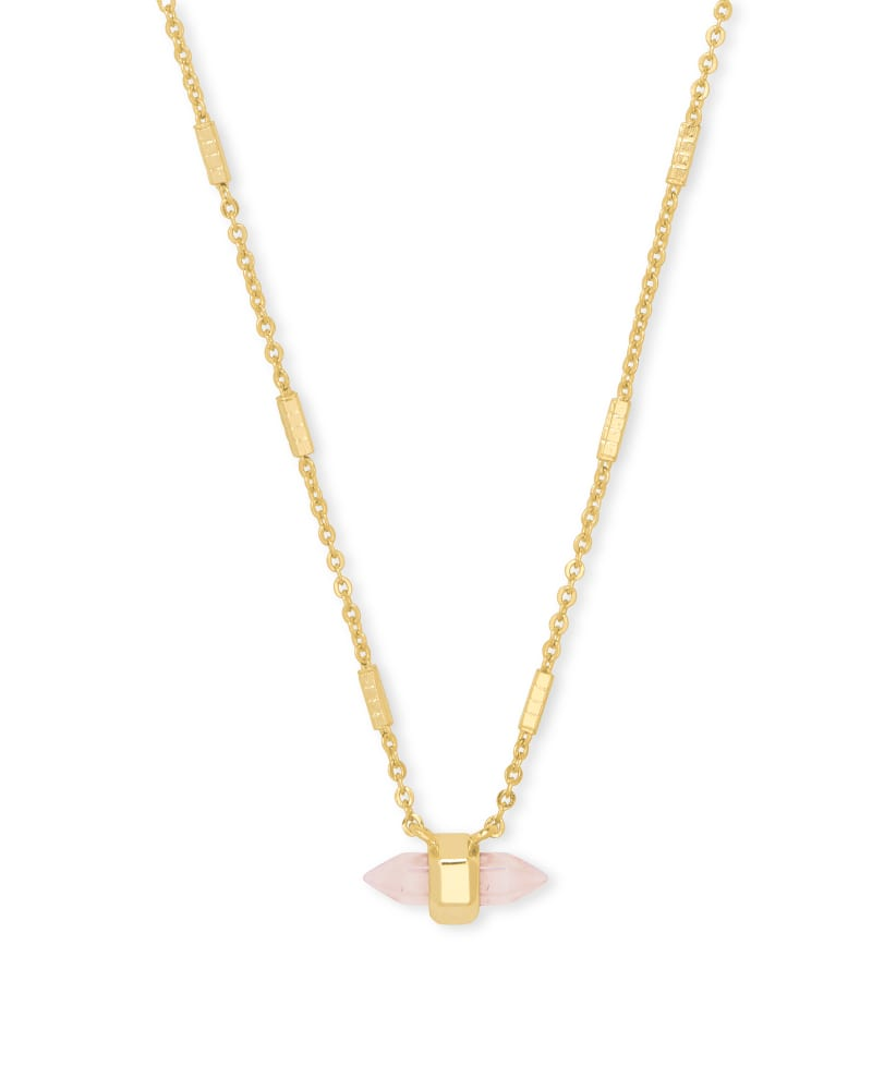 Jamie Gold Pendant Necklace - Rose Quartz