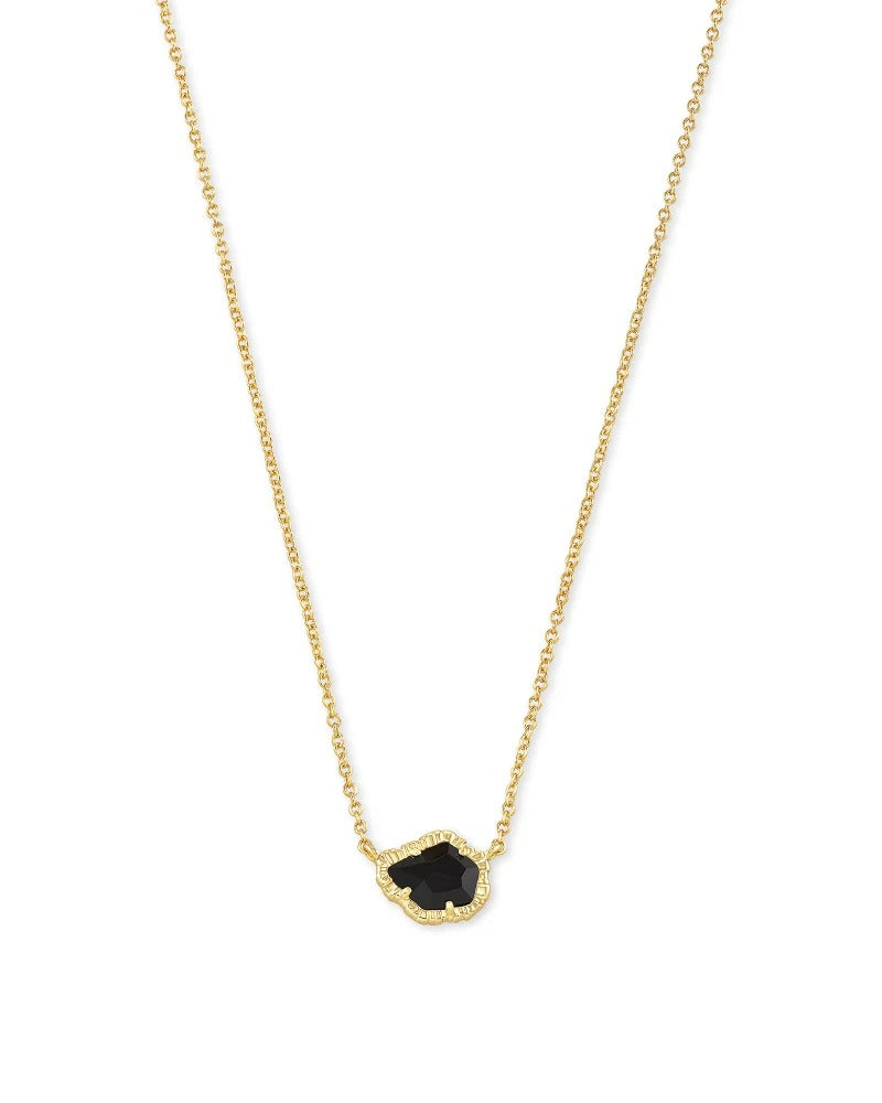 Tessa Gold Small Pendant Necklace - Black Obsidian