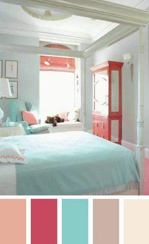 Trendy bedroom color pallette with bright pastels