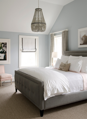 Brushed silver and beach blue bedroom color combo