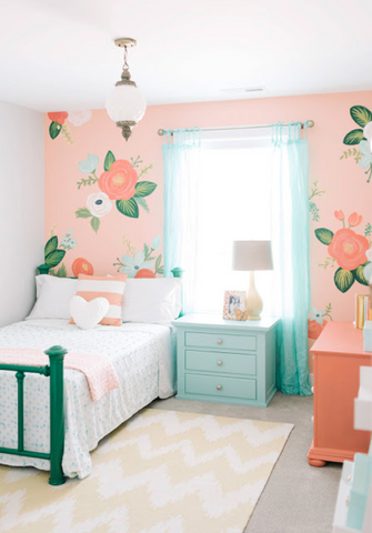 Bright room with pop of floral wallpaper