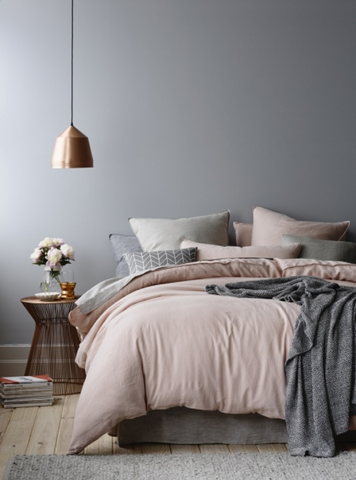 Gray, copper and blush bedding color combo