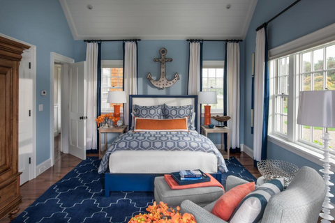 Blue and orange bedding color combo