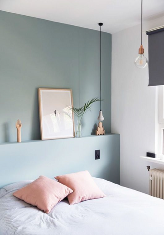 Pink and blue minimalistic bedroom