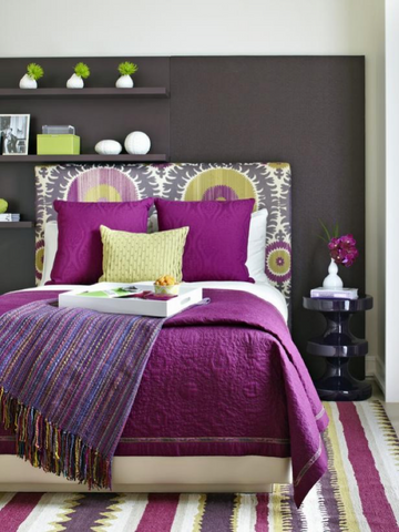 Purple and green bedding color combo
