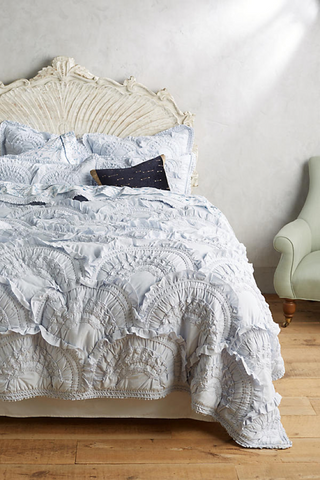 Tucked and tufted ruffles on bedding