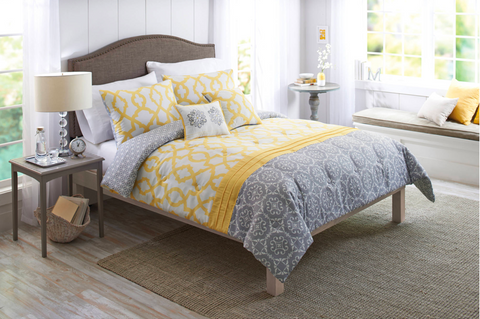Yellow and gray bedding color combo