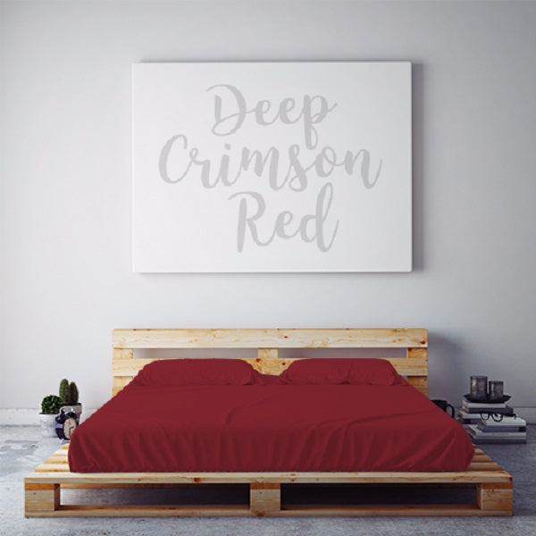 $55 DEEP CRIMSON RED November Feature Sheet Set ~ Queen Size