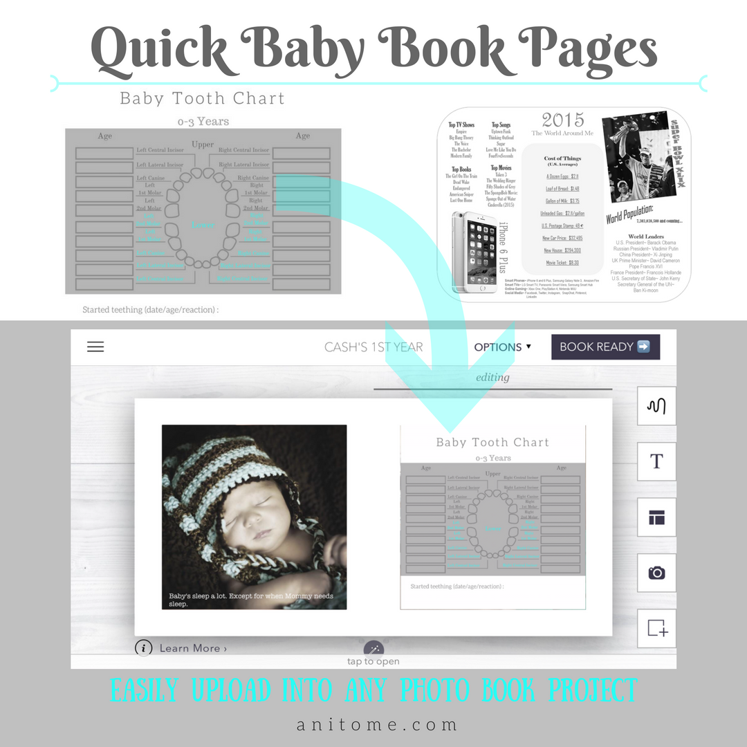 Quick Pages for Baby Book, Photo Book, or Scrapbook. Upload, Import, or Print.