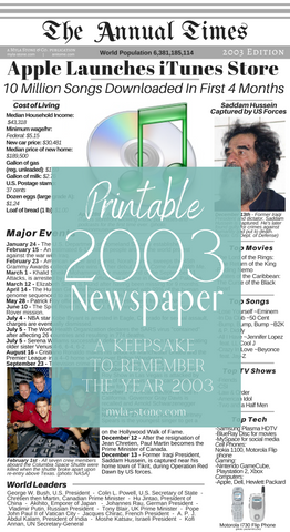 2003 Year In Review. Printable 2003 Newspaper. #2003 #YearInReview #PrintableNewspaper