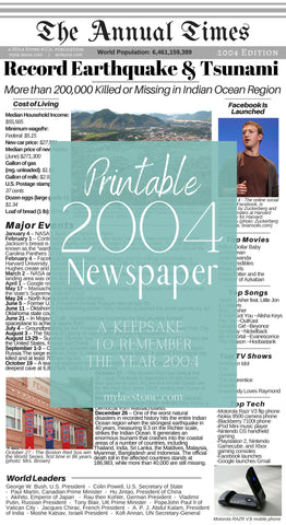 Year 2004. A summary of the year 2004 news, cost of living, technology, world leaders, and popular culture. #2004 #Newspaper #Printable
