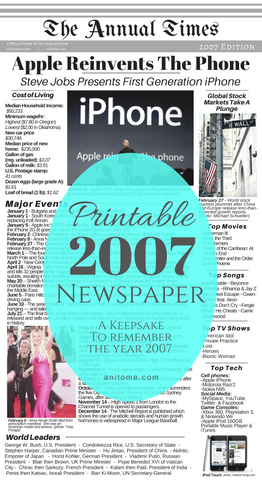What happened in the year 2007? This printable 2007 newspaper gives a summary of the year. Cost of Living, World Leaders, Major Events, Popular Culture, and Technology during 2007. Easily print and add to any keepsake project! #2007 #Newspaper #Printables #BabyBook #Scrapbook