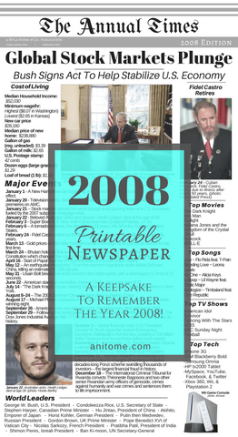 2008 Newspaper. A front-page newspaper printable that summarizes the year of 2008. Cost of Living, World Leaders, Technology, Major Events, and Pop Culture. #2008 #Newspaper #Printable #Keepsake #BabyBook #Scrapbook