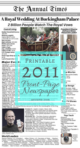 2011 Newspaper Printable. The Annual Times. Major events, Cost of living, Popular Culture, World leaders, and Technology for the year 2011. Print or upload to your baby book, scrapbook, or keepsake project. #2011 #Newspaper #OldNewspaper #Printable #Baby #Babybook #Scrapbook