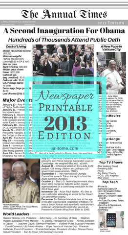 2013 Newspaper. 2013 Headlines, Cost of Living, World Leaders, Technology, and Popular Culture. Printable for Baby Books, Photo Books, Scrapbooks, and Other Commemorative Projects. #2013 #Baby #BabyBook #Newspaper #NewspaperArchives #HistoricNewspaper #Printable