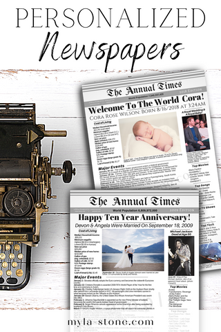 Birthday or Anniversary Gift. Personalized Newspaper printable from the year they were born or any other special date.