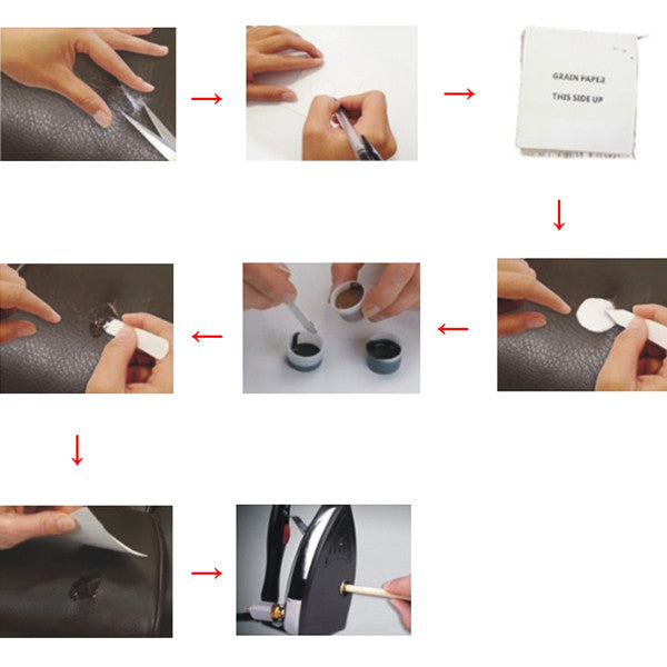 A Leather Vinyl Repair Hand Tool Sets Kit Glue Paste for Car Auto Care Seat  Clothing Leather Rips Fix Crack with Cloth