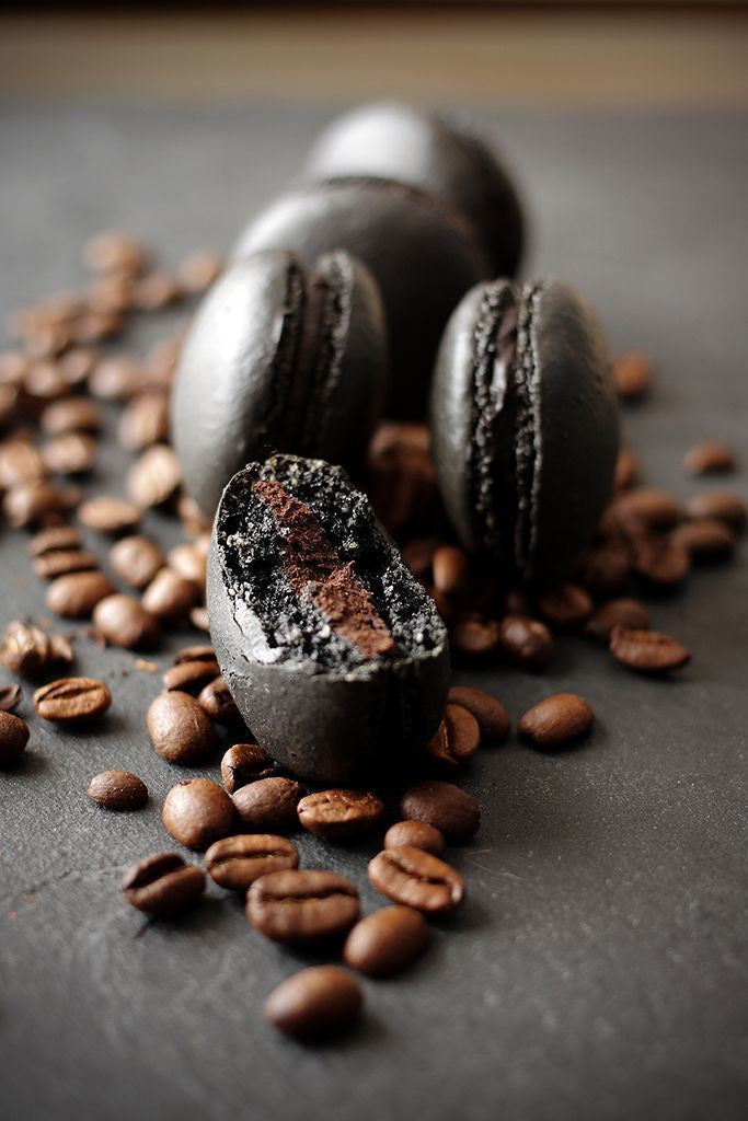 Blissful Black Coffee Macarons with Chocolate Cream Centers