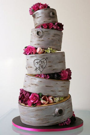 The Leaning Rustic Tree Stump Wedding Cake – Candy Cake Weddings