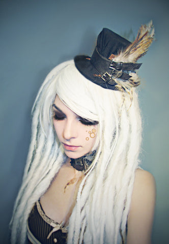White Dreads with Wedding Top Hat