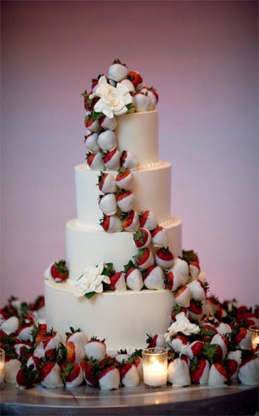 White Chocolate Dipped Strawberry Wedding Cake